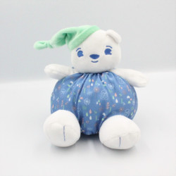 Doudou ours bleu blanc bonnet vert URIAGE