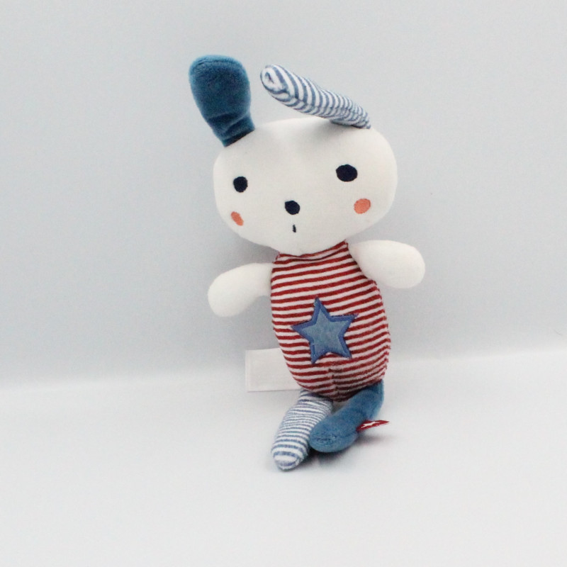 Doudou lapin blanc bleu rouge rayé étoile TAPE A L'OEIL