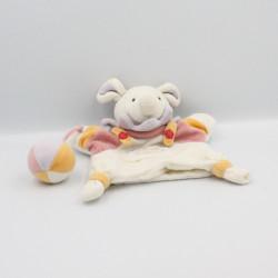 Doudou plat marionnette souris arlequin blanc mauve rose avec balle DOUDOU ET COMPAGNIE