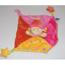 Doudou plat carré rose lutin fille étoile MOTS D'ENFANT