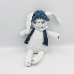Doudou lapin bleu chapeau gilet PETIT BATEAU
