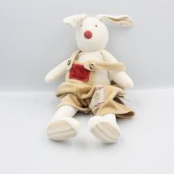 Doudou lapin blanc beige rouge Martin mon lapin MOULIN ROTY