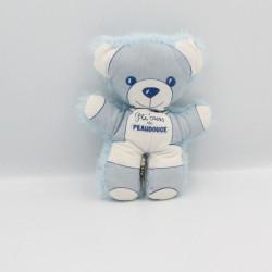 Doudou ours bleu blanc Pti'ours PEAUDOUCE