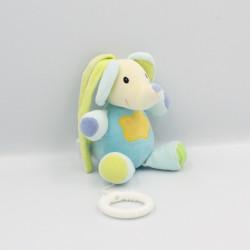 Doudou musical éléphant bleu vert jaune BABYSUN