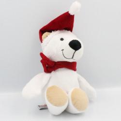 Doudou ours blanc bonnet de Noël KINDER