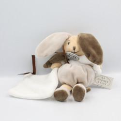 Doudou et compagnie lapin blanc gris marron mouchoir LA GRANDE RECRE