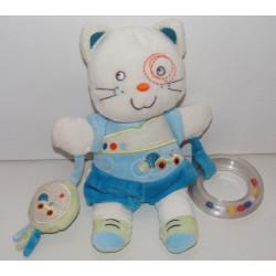 Doudou plat chat bleu vert escargot NICOTOY KIABI