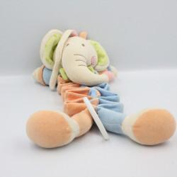 Doudou musical éléphant bleu orange vert blanc PARTNER JOUET