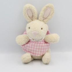 Petit Doudou lapin beige rose vichy