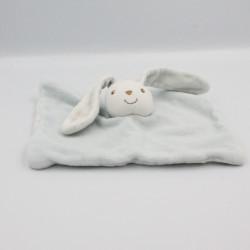 Doudou plat lapin blanc bleu KIMBALOO