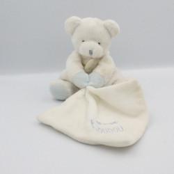 Doudou et compagnie ours blanc bleu mouchoir J'aime mon doudou