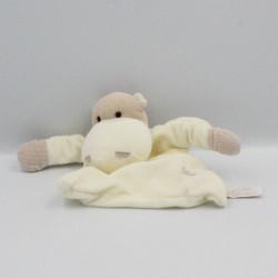 Doudou plat hippopotame blanc beige TIAMO COLLECTION