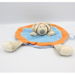Doudou plat rond souris bleu orange TIAMO COLLECTION