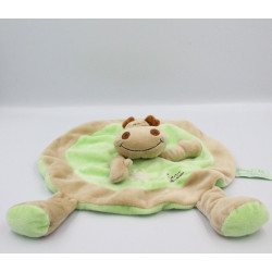 Doudou plat rond hippopotame beige vert TIAMO COLLECTION