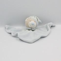 Doudou plat ours beige bleu blanc rayé JOLLYBABY