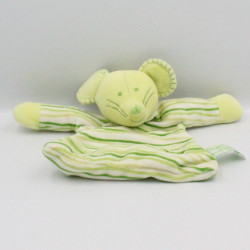 Doudou plat souris verte rayé TIAMO COLLECTION