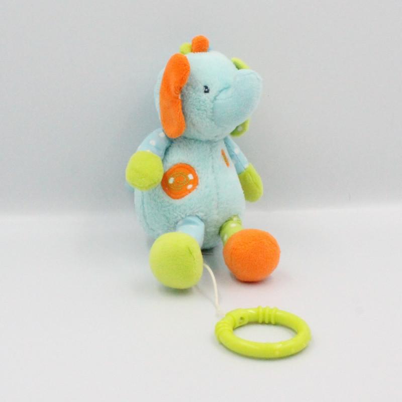 Doudou musical éléphant bleu vert orange BABY CLUB