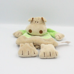 Doudou plat hippopotame beige vert TIAMO COLLECTION