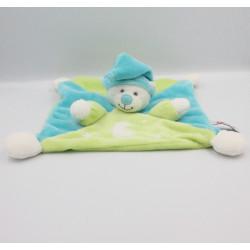 Doudou plat ours blanc vert bleu TOODO