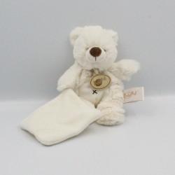 Doudou plat ours blanc mouchoir blanc Baby nat