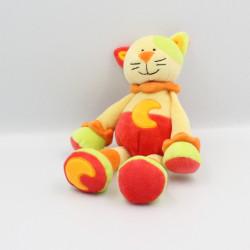 Doudou chat jaune rouge vert orange lune BABY LUNA