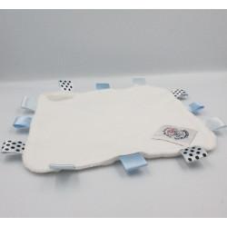 Doudou plat carré blanc étiquettes BABYSENSE