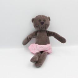 Doudou chat marron jupe rose BOUT'CHOU BOUTCHOU