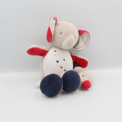 Doudou musical éléphant beige rouge bleu blanc Sucre d'Orge
