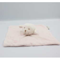 Doudou plat mouton rose blanc nuage BOUTCHOU