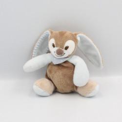 Doudou attache tétine lapin beige marron bleu Emil et Rosy  NATTOU
