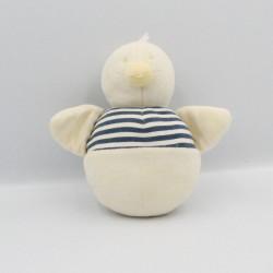 Doudou canard oiseau blanc rayé bleu