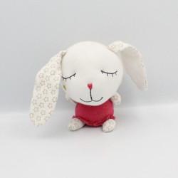 Doudou lapin blanc rose étoiles ailes GRAIN DE BLE