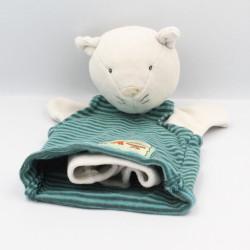 Doudou marionnette chat gris rayé vert carreaux La Grande Famille MOULIN ROTY