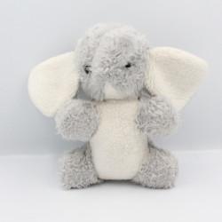 Ancienne peluche éléphant gris blanc grelot