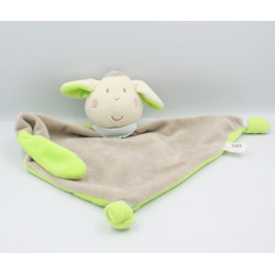 Doudou plat mouton beige vert Flashy Little Star GMBH