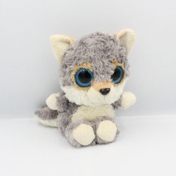 Peluche chat loup gris blanc beige PACO'S