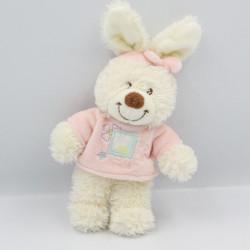 Petit Doudou lapin blanc rose bleu fleurs bandeau TEX BABY
