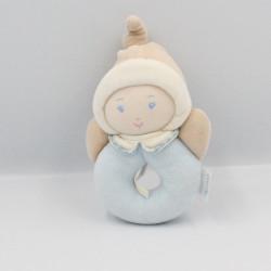 Doudou anneau hochet lutin poupée bleu beige BABI COROLLE