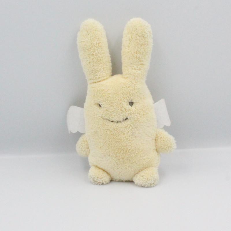 Doudou lapin ange écru jaune TROUSSELIER