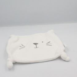 Doudou plat carré blanc chat ours VERTBAUDET