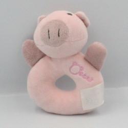 Doudou hochet cochon rose Oscar J-LINE