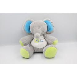 Doudou éléphant gris bleu vert Arthur et Lola BEBISOL