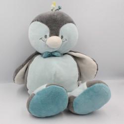 Grand Doudou oiseau pingouin gris bleu Louis NOUKIE'S