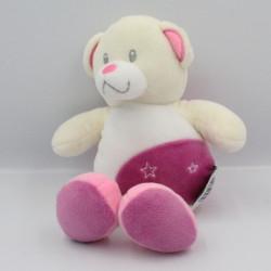 Doudou ours blanc écru rose étoiles TOM & ZOE