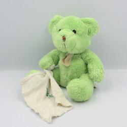 Doudou Ours vert avec mouchoir Baby Nat