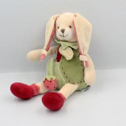Doudou lapin Fraise vert rouge Doudou et Compagnie