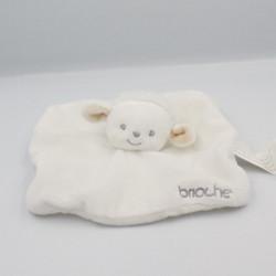 Doudou plat mouton blanc beige BRIOCHE