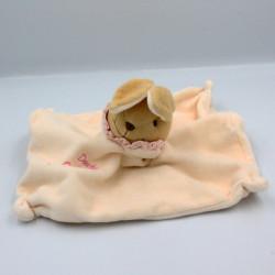 Doudou et compagnie plat carré lapin écru col rose