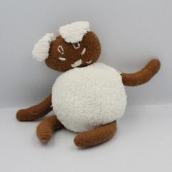 Doudou lapin marron blanc laine