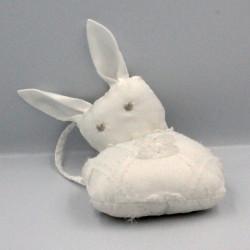 Doudou lapin blanc sac satin